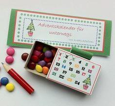 Süßer Adventskalender für Unterwegs, Geschenkideen für Weihnachten / cute advents calendar for the christmas season, gift idea made by Kreativköpfchen via DaWanda.com