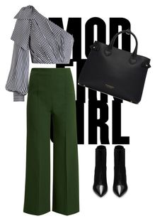 A fashion look from January 2018 featuring crop tops, high waisted trousers and black bootie. Browse and shop related looks. Emilia Wickstead, Black Booties, Sunnies, Yves Saint Laurent, Burberry, Trousers, Fashion Looks, Crop Tops, Polyvore