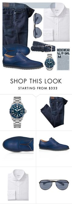 """""""Don't let me catch you slippin'"""" by mrs-rc ❤ liked on Polyvore featuring TAG Heuer, Tod's, Prada, men's fashion, menswear and slipons"""