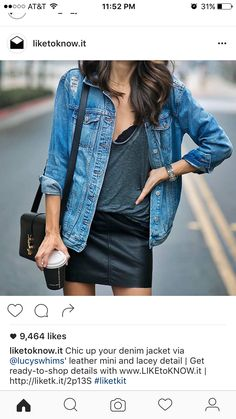 Denim jacket and black leather mini skirt New Outfits, Spring Outfits, Trendy Outfits, Cute Outfits, Fashion Outfits, Fashion Ideas, Winter Outfits, Black Leather Mini Skirt, Style Personnel