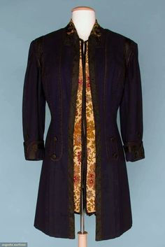 Wool coat, midnight blue wool, princess lines, collar of colorful floss embroidered on silk, machine brocade front panel insert, CB slit, appliqued curved panels, thread covered buttons, woven trim & soutache braid, Doucet, 1908
