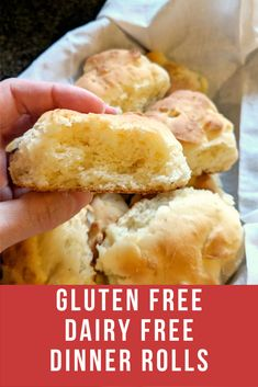 The Best Gluten Free Dairy Free Rolls Ever! These rolls will have everyone coming back fro seconds - easy to make and they're even dairy free too! These pull-apart gluten free dairy free rolls are some of the best, most tender rolls you'll ever eat! Gluten Free Dinner Rolls, Dinner Rolls Easy, Gluten Free Recipes For Dinner, Gluten Free Breakfasts, Foods With Gluten, Dairy Free Recipes, Bread Recipes, Dairy Free Bread, Gluten Free Pastry
