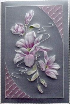 Product Description A delightful card design of Magnolias and buds with a pretty decoration on opposing corners.  The techniques used to make this card involve tracing, embossing and colouring. The finished card is beautiful, it is suitable... Read More