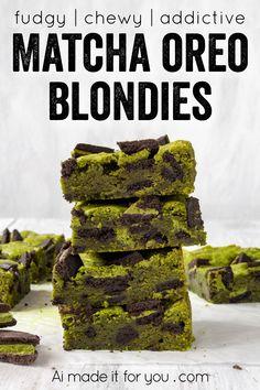 Matcha Oreo Blondies - fudgy matcha blondie recipe - Ai made it for you Matcha Cookies, Tea Cookies, Eggless Desserts, Dessert Recipes, Chocolate Desserts, Healthy Desserts, Vegetarian Cookies, Matcha Dessert, Dessert Bars