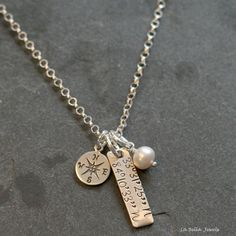 'Where My Heart Is' Hand Stamped Sterling Silver Personalized Compass Coordinates Location Necklace