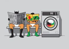 Batman and Robin doing laundry