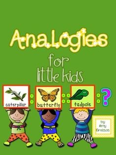 """""""Analogies for Little Kids"""" is a fun & engaging product designed to provide practice with higher level thinking skills using pictures in addition to print. I chose pictures that most children will be familiar with, and the word relationships are fairly straightforward to ensure success as y..."""