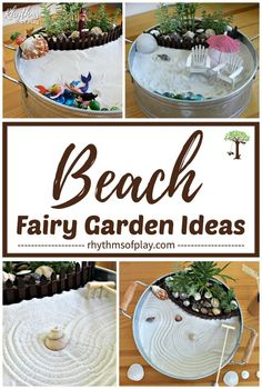 Fairy Garden Ideas - Try any of these easy beach fairy garden ideas (zen, mermaid & more!) to make a mini tabletop fairy garden with a beach theme. Beach Fairy Garden, Fairy Garden Plants, Fairy Garden Supplies, Gnome Garden, Gardening Supplies, Seaside Beach, Desktop Zen Garden, Fairy Crafts, Beach Gardens