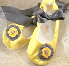 Yellow and Grey wedding slippers