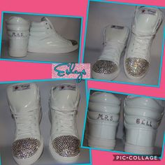 Eshays Initial Personalized White Sneaker Wedges 537744c29