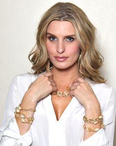 Brass and citrine link bracelet with cz magnetic closure and beautiful citrine brass double wrap necklace @www.deborahgaspar.com