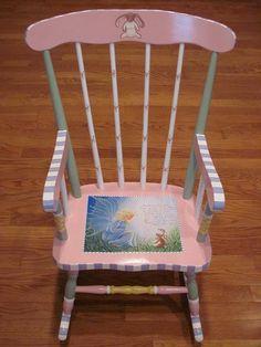 Hand Painted  Velvateen Rabbit Rocking Chair. $250.00, via Etsy.