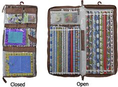 Wrap iT is the world's greatest gift wrap organizer and uses several pockets and creative space to store large wrapping paper rolls, scissors, stationary, gift bags, bows, tape, etc.