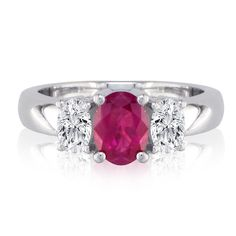 1/2ct Fine Quality Ruby and Oval Diamond Ring in 14k White Gold: Very High Quality 14 Karat White Gold 1/2 Carat Ruby and 1/4ct… #Jewelry