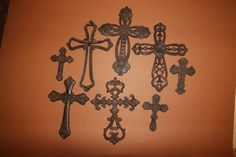 (8), Wildwood Collection, Cast Iron Crosses, Christianity, Western Decor