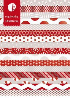 Red + White + Gray Holiday Patterned Papers