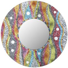 Instantly splash your space in waves of color with our round, mosaic mirror. Hand-placed pieces of brightly colored glass create a rolling pattern that brings bright design to plain walls and enhances your already decorated spaces.