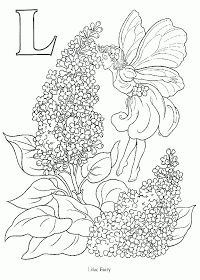 FAIRY COLORING PAGES: FLOWER FAIRY COLORING PAGE - IRIS AND LILAC