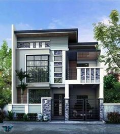 new ideas for modern contemporary house exterior philippines Two Story House Design, 2 Storey House Design, House Front Design, Two Storey House, Contemporary House Plans, Modern House Plans, Modern Zen House, Contemporary Design, Minimalist House Design