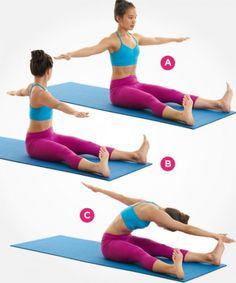 mujer sentada haciendo ejercicios de flexibilidad y tonificacion