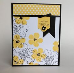 handmade card featuring Secret Garden stamps ... love the crisp bright look ...white background ...solid yellow flowers ... large flowers left as line drawings .... black edges to hold it all together ... Stampin' Up!