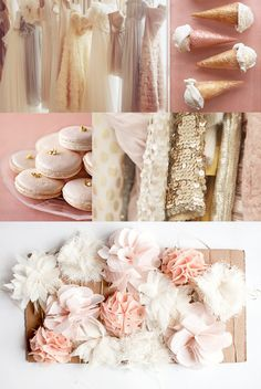 rose gold, sequins, fabric flowers, tullle, ruffles, macaroons. love all of this (other than the weird ice cream cones)... :)