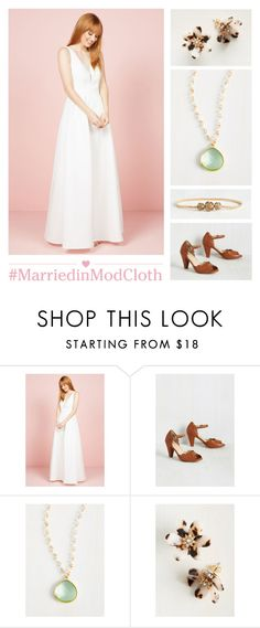 """""""Allure I've Dreamed Of Dress in White"""" by modcloth ❤ liked on Polyvore featuring Restricted"""