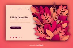 Nature landing page template in paper style Magazine Layout Design, Ui Design Inspiration, Web Layout, Grafik Design, Presentation Design, Graphic Design Illustration, Page Design, Apps, Wavy Layers
