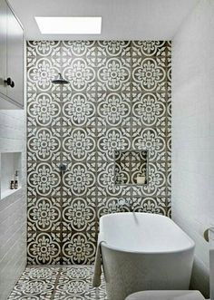 bling tile floor + shower wall. Mid size tiles on back+front walls
