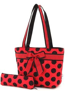 Red and Black Quilted Polka Dot Lunch Tote Bag