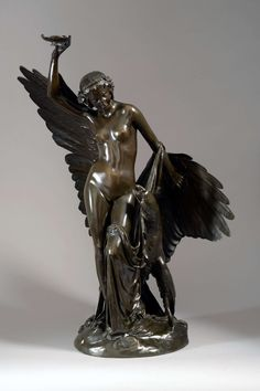 François Rude (1784 - 1855)  HÉBÉ ET L'AIGLE DE JUPITER Bronze, richly shaded black brown patina H : 76,6 cm, L : 60,5 cm, W : 35 cm Vases, Sculpture Clay, Types Of Art, Art Nouveau, Decoration, Statue, Antiques, Museums, Anatomy