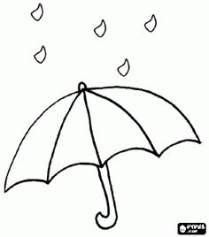 Raindrops on an open umbrella coloring page - bjl