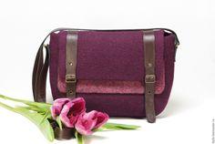"""Купить Валяная сумка """"Открывая Бордо"""" - однотонный, пурпурный цвет, сумка ручной работы"""