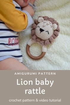 This amigurumi crochet pattern of cute lion baby rattle with teether ring will be a great baby shower gift, pregnancy gift for mom to be or birthday gift for the little ones in your life. *The size is perfect for little hands and helps baby to develop sensory awareness the hardness of the wood and the softness of the yarn. It will aid baby to develop it's fine motor skills. #crochetpattern #crochet #babyrattle Easy Crochet Patterns, Baby Patterns, Crochet Ideas, Chain Stitch, Slip Stitch, Double Crochet Decrease, Cute Lion, Nana Gifts, Pregnancy Gifts