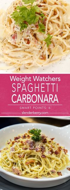 Weight Watchers Skinny Italian Spaghetti Carbonara Dinner Recipe with whole wheat pasta bacon garlic egg parmesan cheese and pepper. Quick and easy 20 minute meal. Old Italian Recipes, Healthy Italian Recipes, French Recipes, Diner Recipes, Ww Recipes, Cooking Recipes, Tofu Recipes, Skinny Recipes, Vegetarian Meal Prep