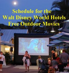 Movies Under the Stars - There is a free outdoor Disney movie shown every night (weather permitting) at every official Walt Disney World Resort hotel.  You can see the current schedule at http://www.buildabettermousetrip.com/wdw-outdoor-movie-schedule/
