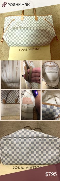 💯Authentic Louis Vuitton Neverfull GM Beautiful classic bag by Louis Vuitton 😍. This is one of my first LV bag's.....it's been very loved and used. There are some ink marks and stains mainly on the interior pocket, as pictured above. The bottom corners and piping shows signs of wear. The bag itself is in excellent condition....no tears or scratches. The vachetta is a golden patina. No tags, but comes with the dust bag. Serial code SD4079 made in USA. Louis Vuitton Bags Shoulder Bags