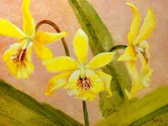 DPW Fine Art Friendly Auctions - Yellow Orchid Triplets by Dalan Wells