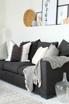 Nice Living Room Idea With Dark Grey Couch And Light Accents. Part 90