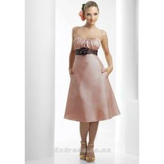 2015 Alluring Strapless Flower Taffeta Tea-Length Bridesmaid Apparels with Pockets Wedding Party Dresses