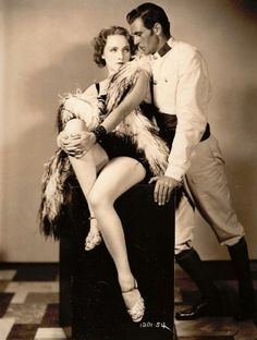 Marlene Dietrich with Gary Cooper in a publicity photo for Morocco - (1930)