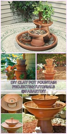 DIY TerraCotta Clay Pot Fountain Projects Tutorials