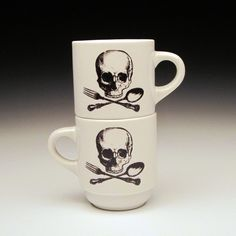 Chef Cook Skull Crossbones Espresso Cups. Set Of Four. $75 - click on the photo for a direct link - http://goreydetails.net/shop/index.php?main_page=product_info=37_87_id=1303