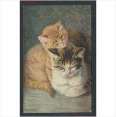 2 Cats Artist Signed M Stocks Postcard on eBid.net from deanosaur1972 postcards