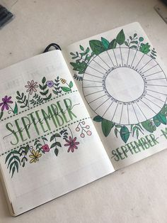 September title page and mood tracker from my bullet journal bullet journal september cover, bullet Bullet Journal Tracker, Bullet Journal Fonts, Bullet Journal Title Page, Planner Bullet Journal, Bullet Journal Cover Ideas, Bullet Journal Monthly Spread, Bullet Journal Inspo, Journal Covers, Journal Ideas