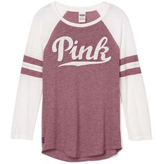 PINK Baseball Tee ($33) ❤ liked on Polyvore featuring tops, t-shirts, purple tee, purple t shirt, curved hem t shirt, color block tee e pink t shirt