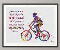 Bicycle Quote Watercolor Print Einstein Quote Decor Sports Art