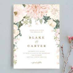 """""""Garden Wedding"""" - Wedding Invitations in Coral by Susan Moyal."""