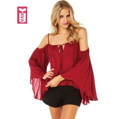 >> Click to Buy << Bohemian Hot Sexy Super Big Flare Sleeve Spaghetti Straps Off Shoulder Shirt Womens Pleated Falbala T-shirt Tees Tops Summer #Affiliate