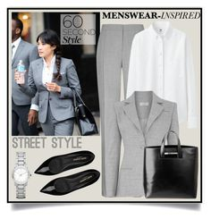 """""""NYFW Menswear inspired Street Style"""" by krskinner ❤ liked on Polyvore featuring Reiss, Uniqlo, Altuzarra, Yves Saint Laurent, J APOSTROPHE, Burberry, StreetStyle, menswear, PolyvoreNYFW and 60secondstyle"""